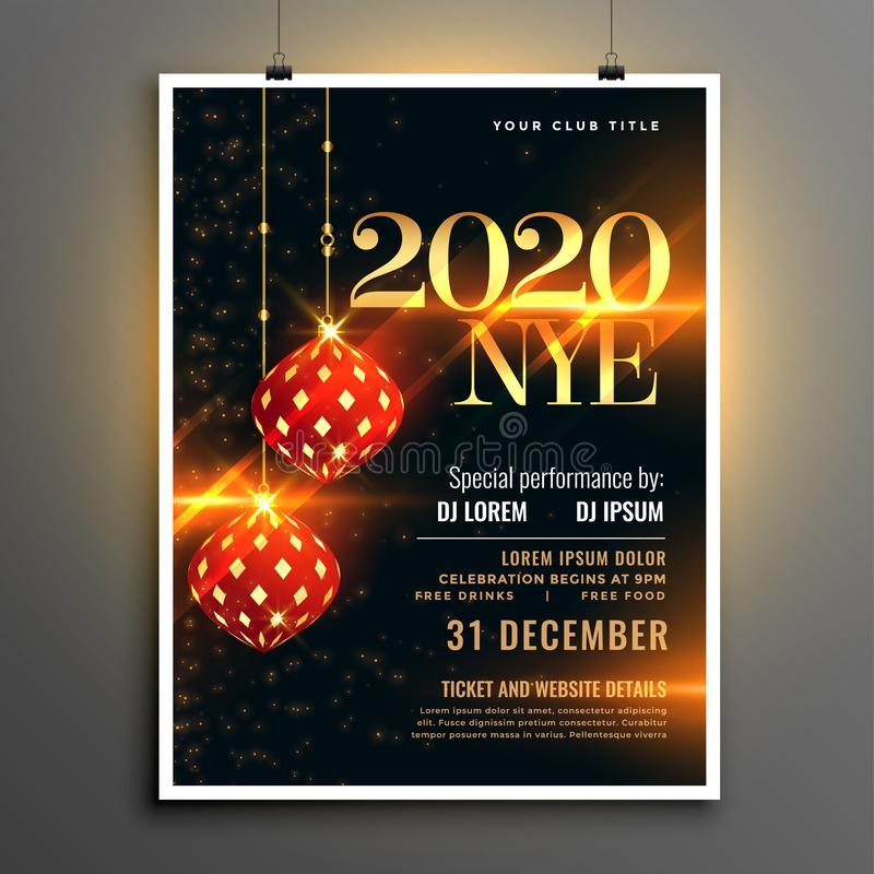 Happy new year event party invitation flyer template design 皇族释放例证