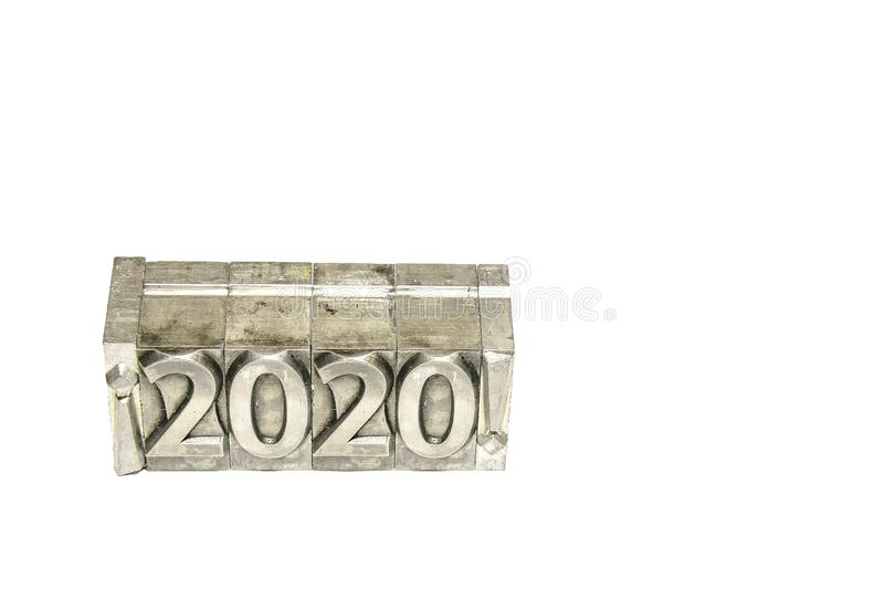 Happy new year 2020 between exclamation marks on background isolated royalty free stock image