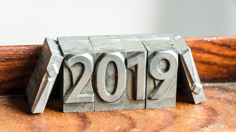 Happy new year 2019 between exclamation marks types of press stock photo