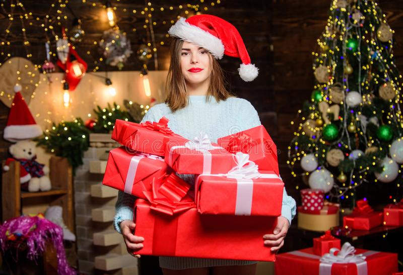 Happy new year. Family celebration. Sexy woman with present box. Christmas tree. Winter holiday. morning before Xmas stock photography