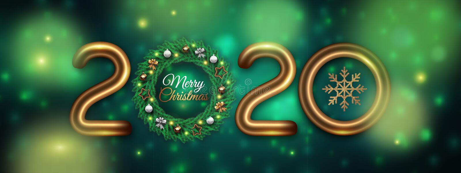 Happy New 2020 Year. Festive green background with golden numbers, Christmas wreath, star, ribbon and snowflake. royalty free stock image