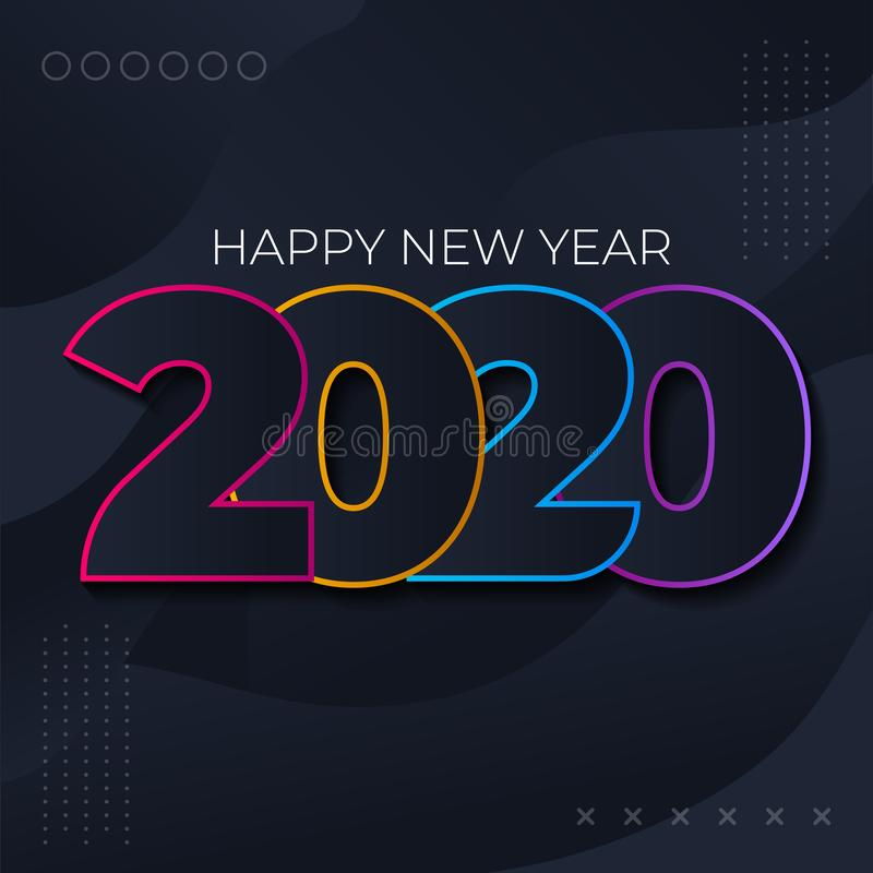 2020 Happy New Year. Festive premium design template for greeting card, calendar, banner, colorful Memphis geometric style with royalty free stock photos
