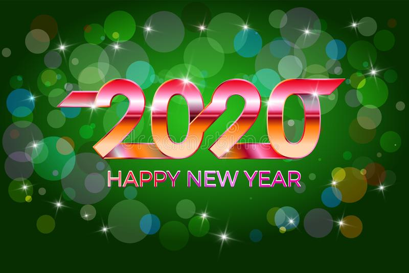 2020 Happy New Year. Festive style Happy New Year, Merry Christmas. Banner, invitation, party poster glittering stars royalty free stock photo