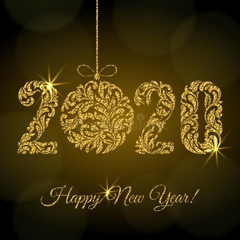Happy New Year 2020. figures  and Christmas ball from a floral ornament with golden glitter and sparks on a dark background stock illustration