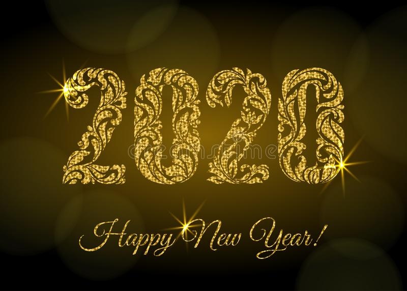 Happy New Year 2020. The figures from a floral ornament with golden glitter and sparks on a dark background with bokeh. vector illustration