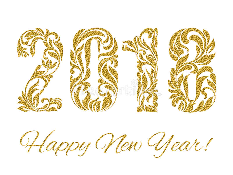 Happy New Year 2018. The Figures With Golden Glitter Made