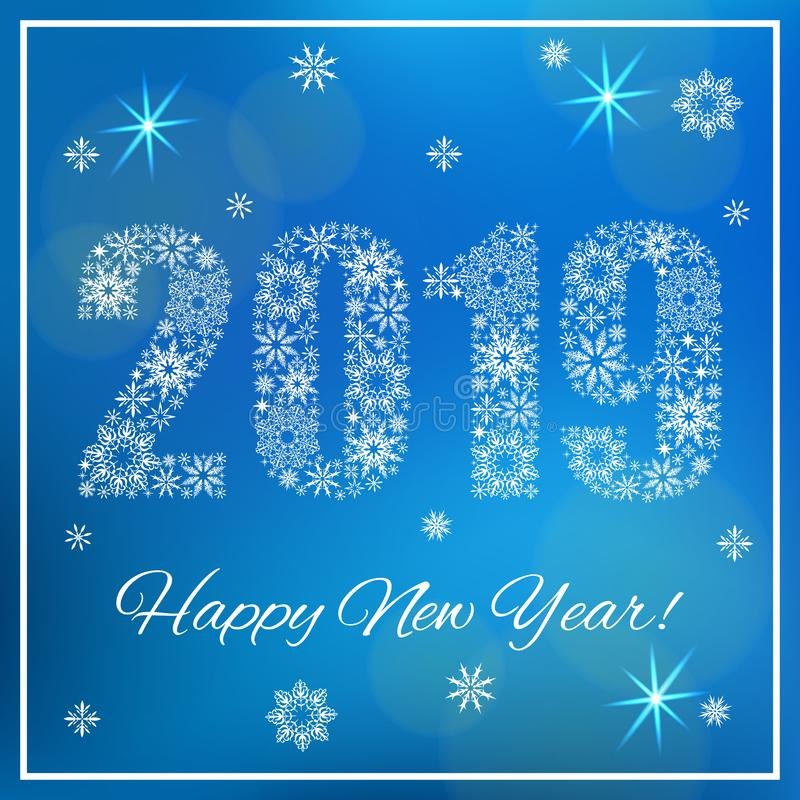 Happy New Year 2019. Figures made of snowflakes. Blue background with bokeh, snowflakes and shine royalty free illustration