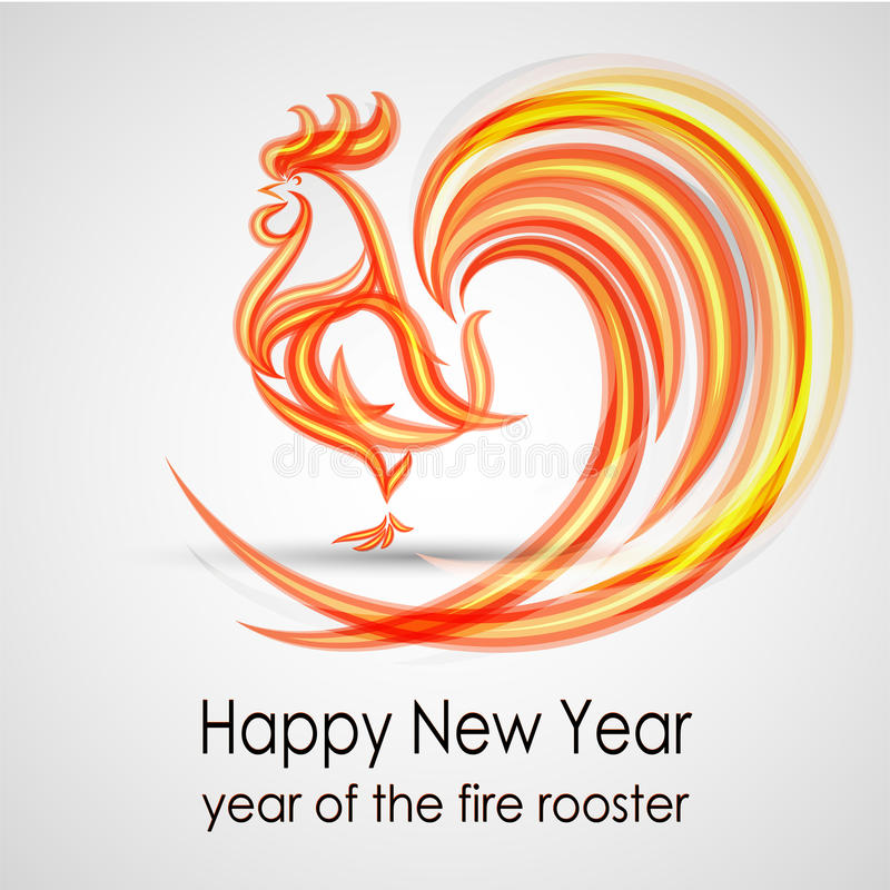Happy New Year 2017. Fire rooster. Greeting Card design. Vector eps 10 stock image