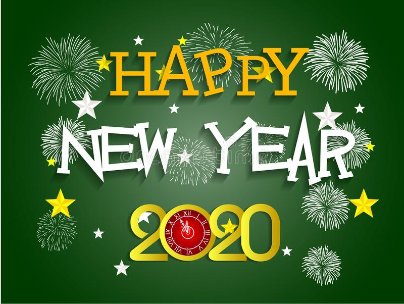 Happy New Year 2020 with firework background. Vector stock illustration