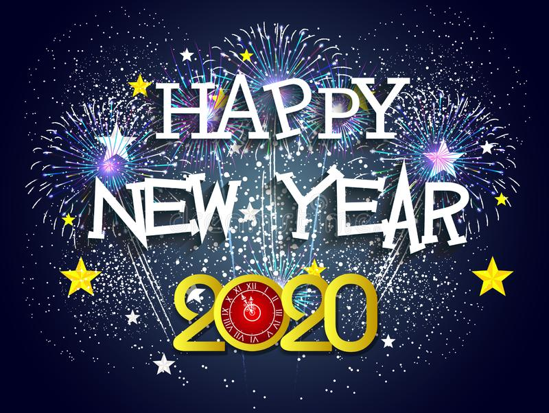 Happy New Year 2020 with firework background. Vector vector illustration