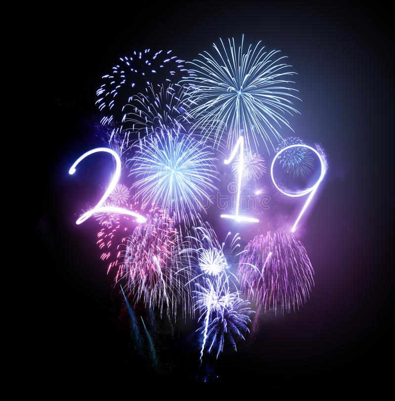 2019 Happy New Year Firework Celebrations royalty free stock images