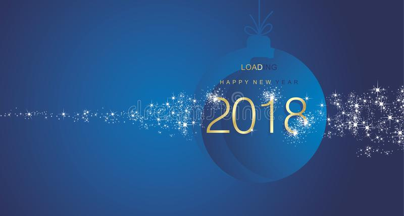 Happy New Year 2018 firework gold blue ball landscape background. Vector royalty free illustration