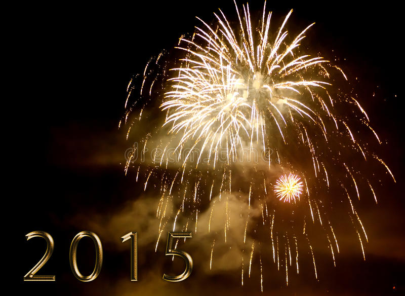 Happy new year 2015 - firework by night stock image