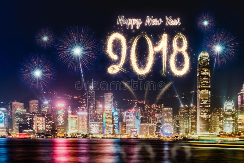 Download Happy New Year 2018 Firework Over Cityscape Building Near Sea At Stock Image - Image of landmark, asia: 96737191