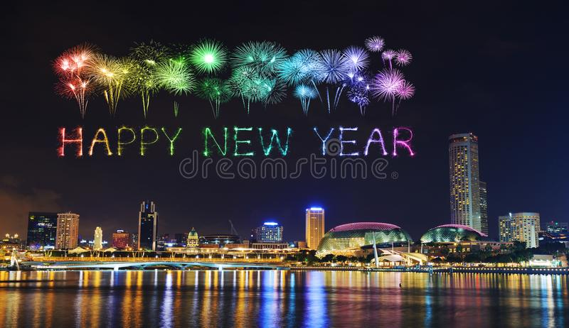 Happy new year firework Sparkle with cityscape of Singapore at n. Happy new year firework Sparkle with cityscape of Singapore city at night royalty free stock image