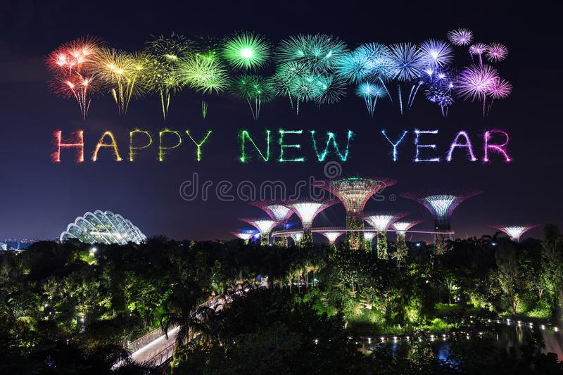 Download Happy New Year Firework Sparkle With Gardens By The Bay At Night  Stock Image