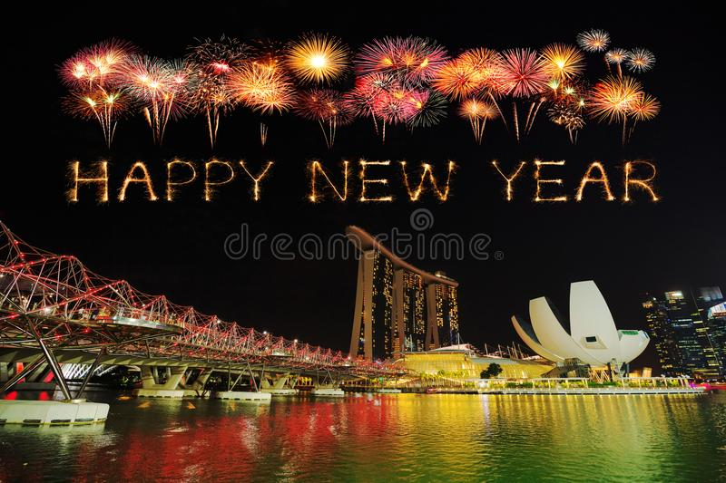 Happy new year firework Sparkle with the Helix Bridge, Singapore. Happy new year firework Sparkle with the Helix Bridge at night, urban landscape of Singapore royalty free stock photo