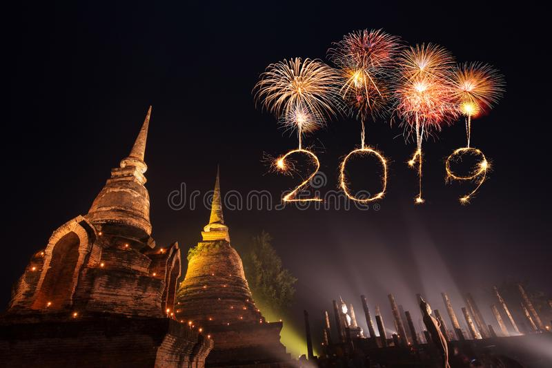 2019 Happy new year firework Sparkle with Sukhothai park at nigh stock photos