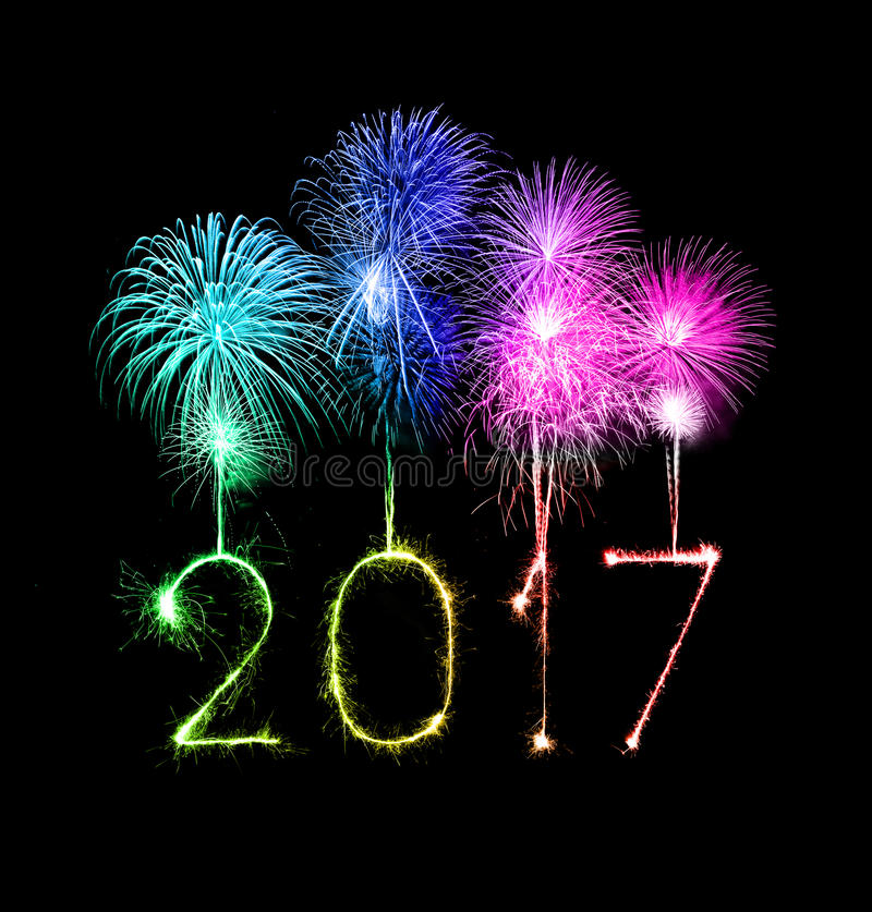 2017 Happy New Year firework sparklers royalty free stock image