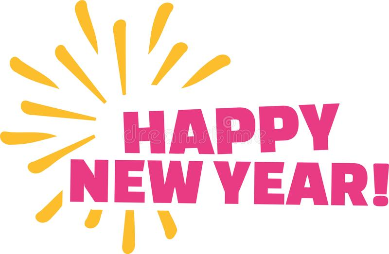 Happy new year with firework vector illustration