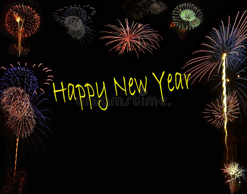 Happy New Year Fireworks. Background of fireworks on black with yellow happy new year text in english stock images