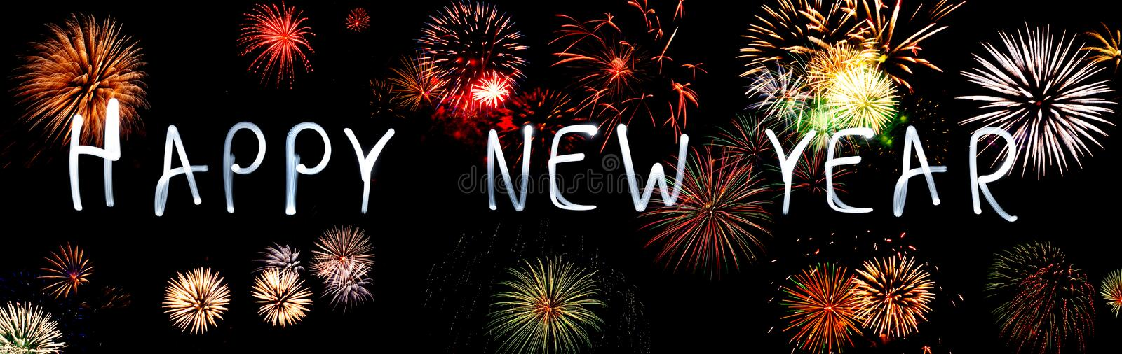 Happy New Year. With Fireworks stock image