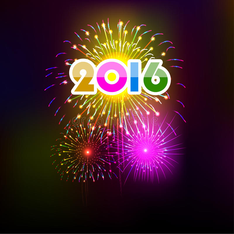 Happy New Year 2016 with fireworks background stock illustration