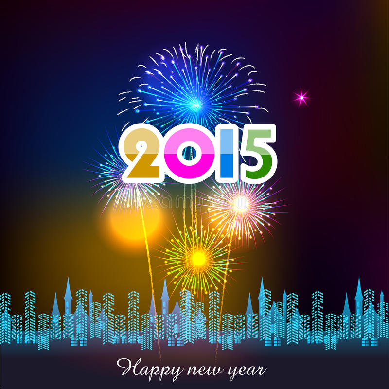Happy New Year 2015 with fireworks background vector illustration