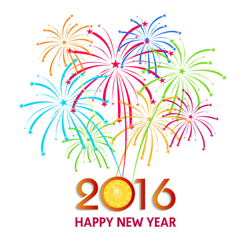 Happy New Year 2016 with fireworks background royalty free illustration