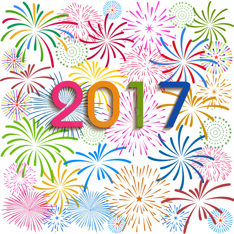 Happy New Year 2017 with fireworks background vector illustration