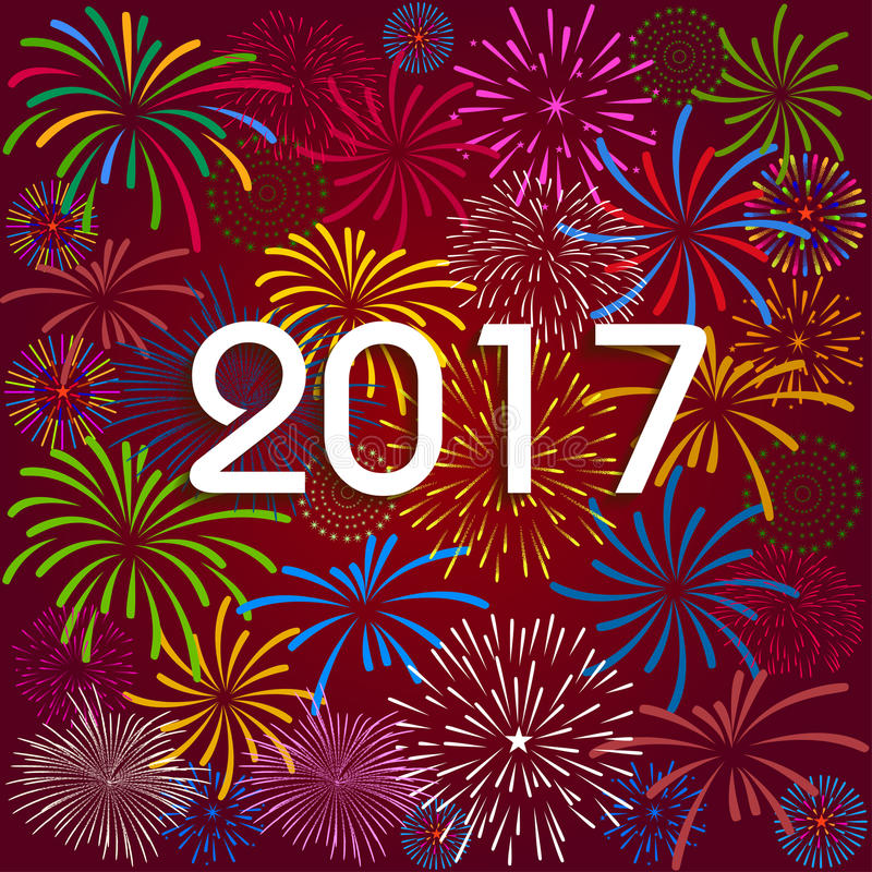 Happy New Year 2017 with fireworks background stock illustration