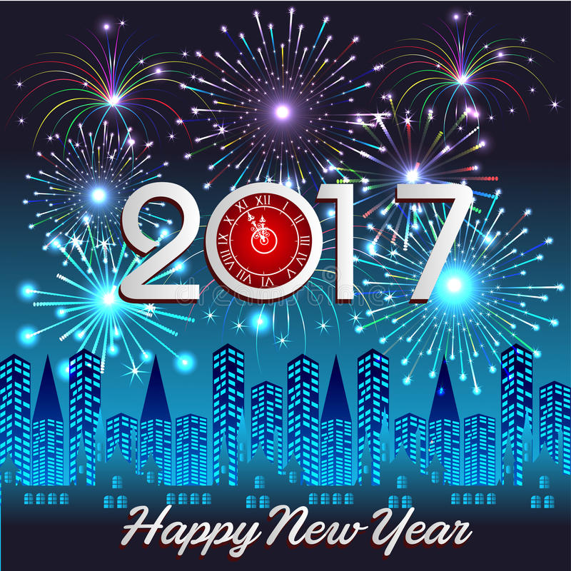 Happy New Year 2017 with fireworks background. Happy New Year 2017 with fireworks stock illustration