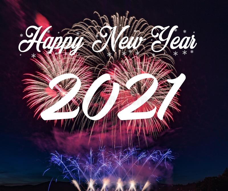 Happy new year 2021 with fireworks background. Celebration New Year 2021 royalty free stock images