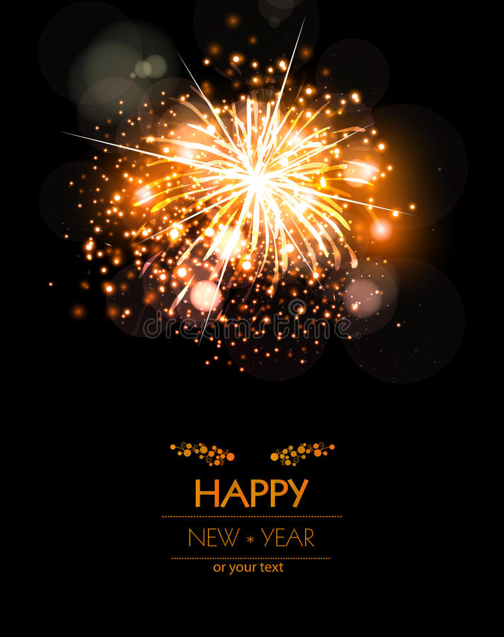 Happy New Year fireworks background concepT. Easy editable royalty free illustration