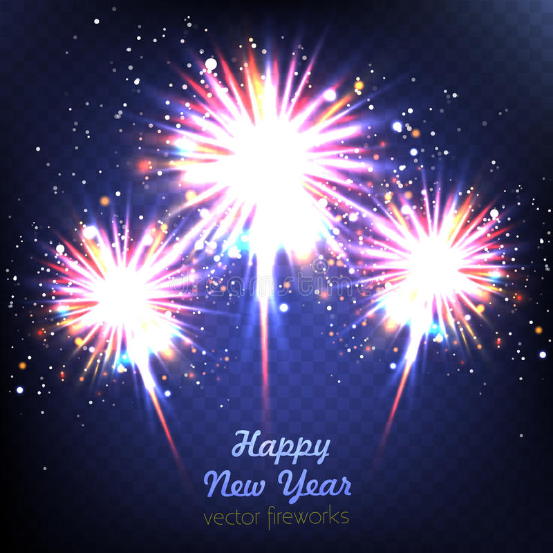 Happy New Year fireworks background in summer, easy all editable royalty free illustration