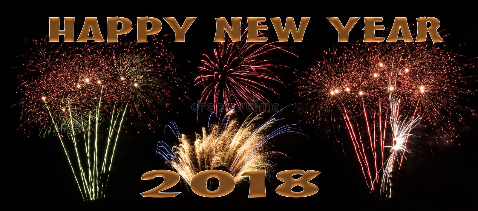 Happy New Year 2018 fireworks banner stock image