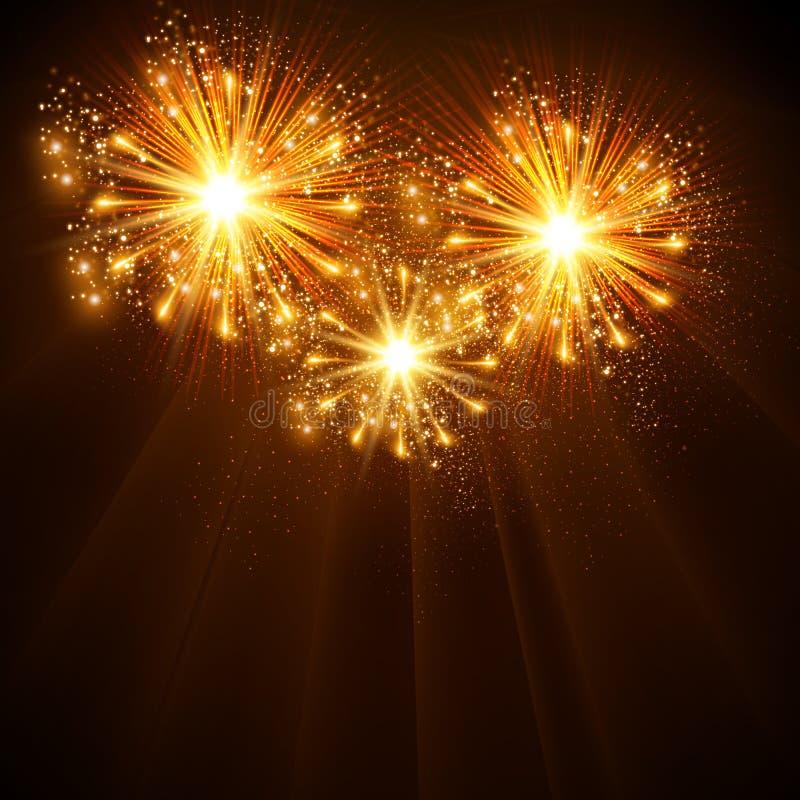 Happy New Year 2014 fireworks celebration background. Easy all editable stock illustration
