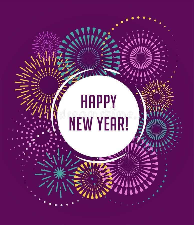 Happy New Year, Fireworks and celebration poster. Happy New Year, Fireworks and celebration background, poster, banner stock illustration