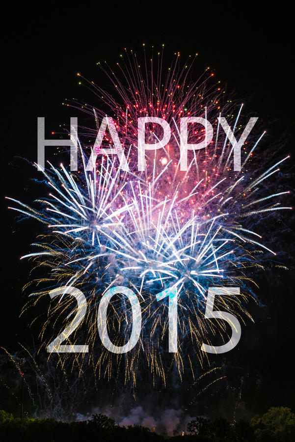 Happy New Year 2015 with fireworks royalty free stock images
