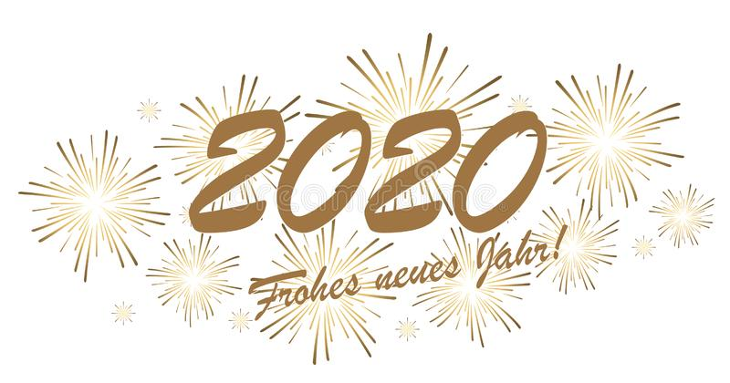 Happy New Year 2020 fireworks concept stock illustration