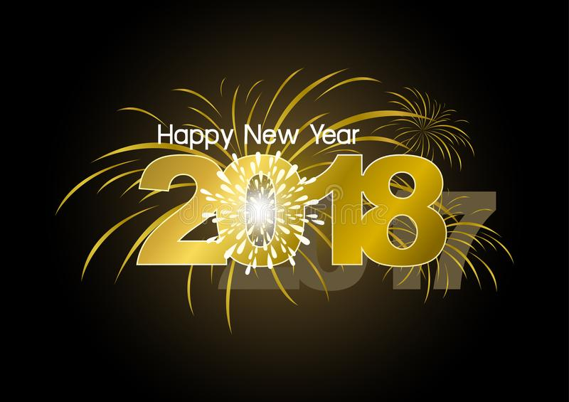 Happy New Year 2018 with fireworks design stock illustration