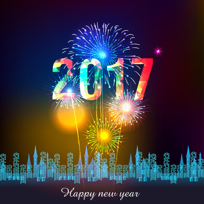 Happy New Year 2017 With Fireworks Display Background ...