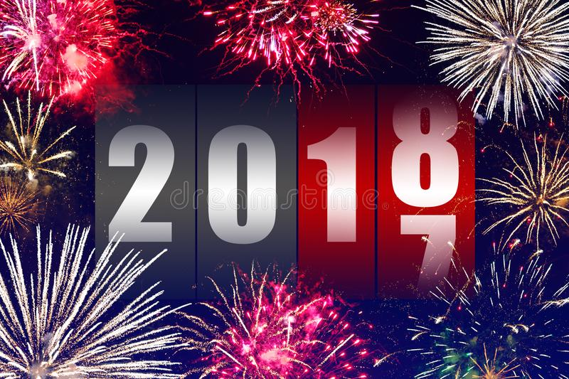 Happy New Year 2018. With fireworks royalty free stock image