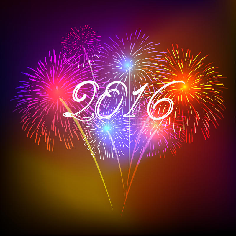 Happy new year 2016 with fireworks holiday background. Happy new year fireworks 2016 holiday background design royalty free illustration