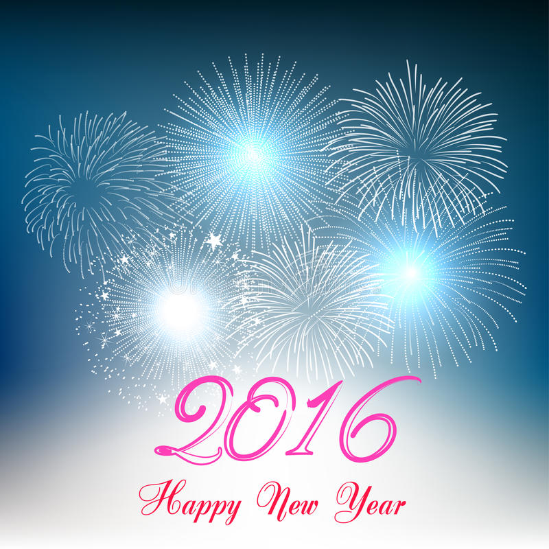 Happy new year 2016 with fireworks holiday background. Happy new year fireworks 2016 holiday background design vector illustration