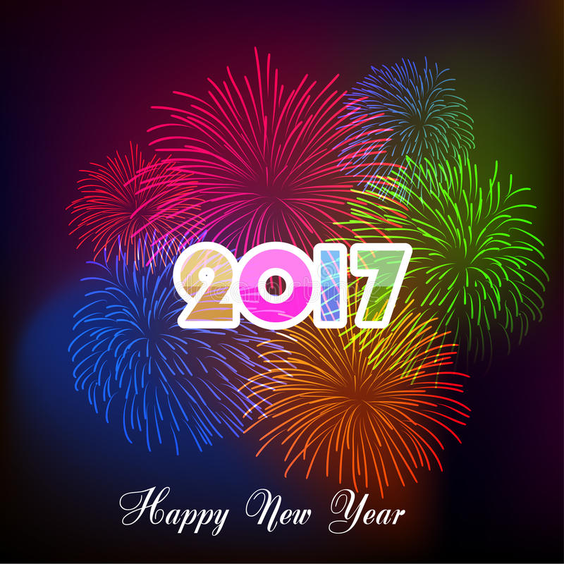 Happy new year fireworks 2017 holiday background design stock illustration