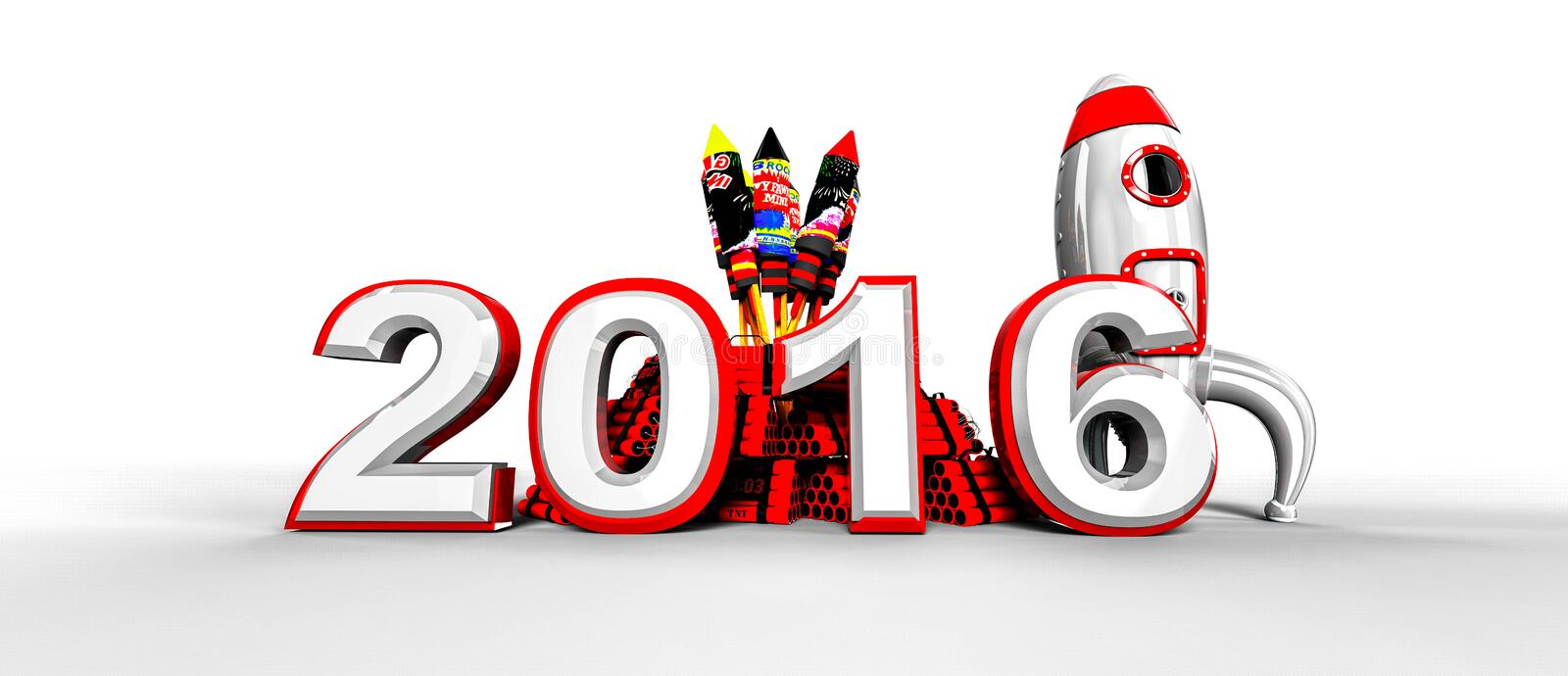 Happy new year 2016 with fireworks vector illustration