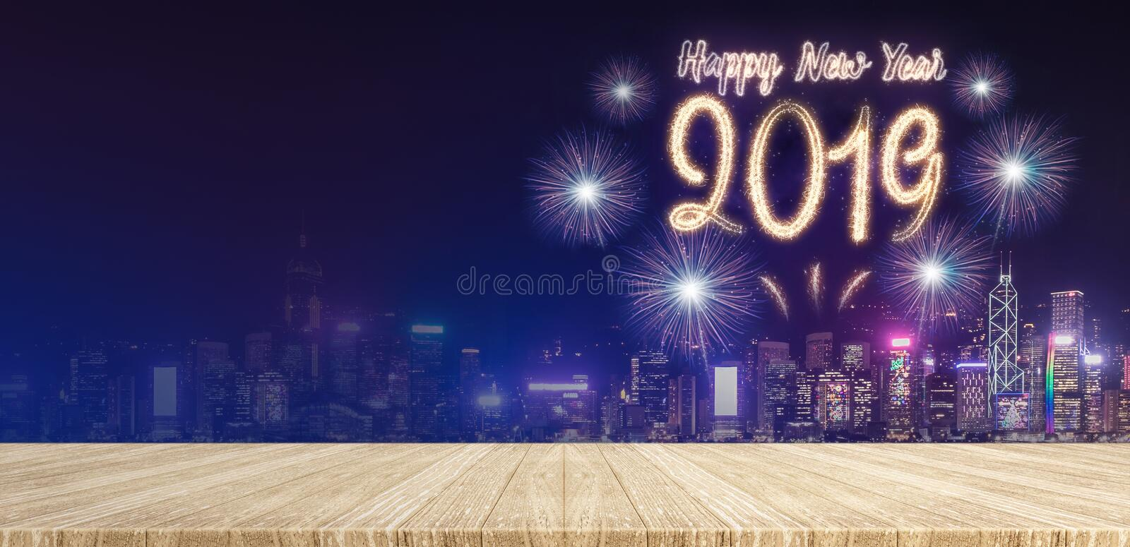 Happy new year 2019 fireworks over cityscape at night with empty royalty free stock photo