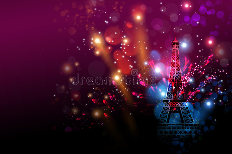Happy New Year fireworks Paris with Eiffel tower or France day royalty free illustration