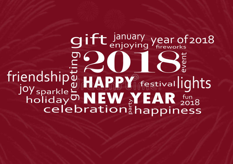 Happy new year 2018 with fireworks vector illustration